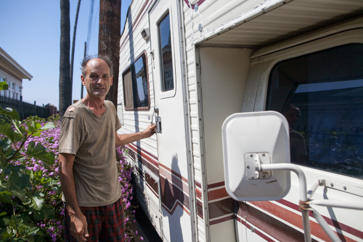Kevin McManus lives in his RV and has to change locations to avoid getting hassled, on Monday June 8, 2015 in San Pedro. RV parks are not an option for him, he said because they generally only welcome newer vehicles.