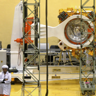 Scientists and engineers work on a Mars Orbiter vehicle at the Indian Space Research Organisation's satellite center in Bangalore, India, on Sept. 11. The Mars Orbiter Mission spacecraft is scheduled to be launched sometime in the next three weeks.