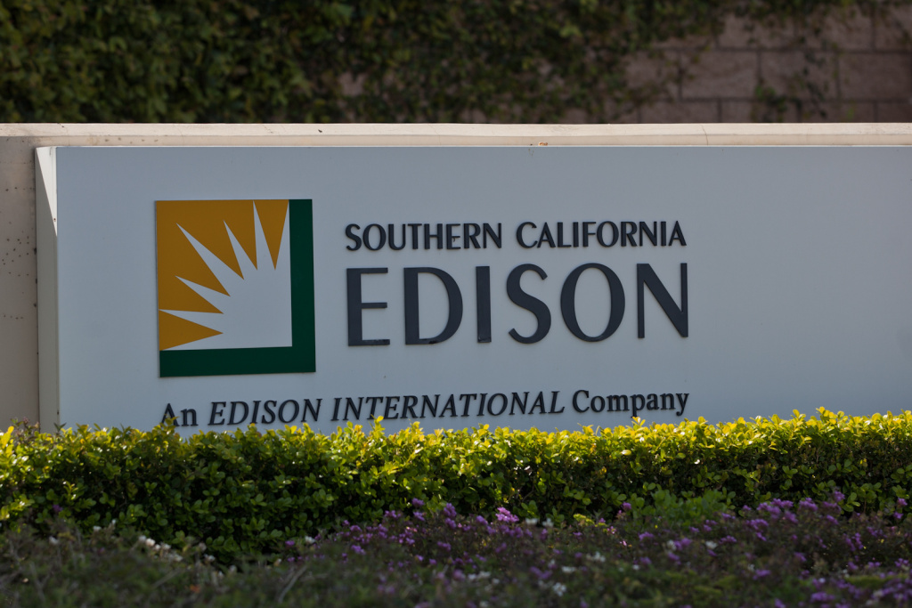 A Southern California Edison sign outside the San Onofre Nuclear Plant.
