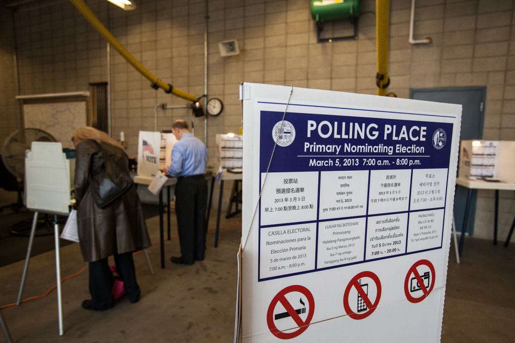 A polling place at the Los Angeles Fire Department's Fire Station #43 in Culver City. A new report finds that although Latinos voted in record numbers in the November 2012 election, the share of those who cast ballots was actually smaller than in 2008, when there were fewer eligible Latino voters.