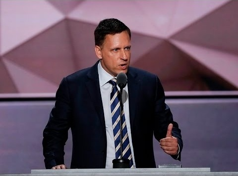 Entrepreneur and PayPal co-founder Peter Thiel addressed the 2016 Republican National Convention Thursday night in Cleveland.