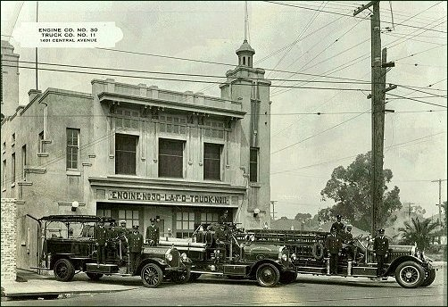 African-American firefighters stand outside Station #30 on Central Ave. in South L.A., circa 1925. The station is now the African American Firefighter Museum
