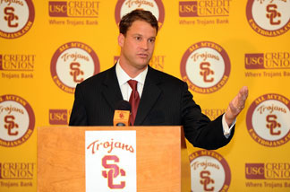 New head coach of the USC Trojans Lane Kiffin is introduced during a press conference at Heritage Hall January 13, 2010 in Los Angeles.