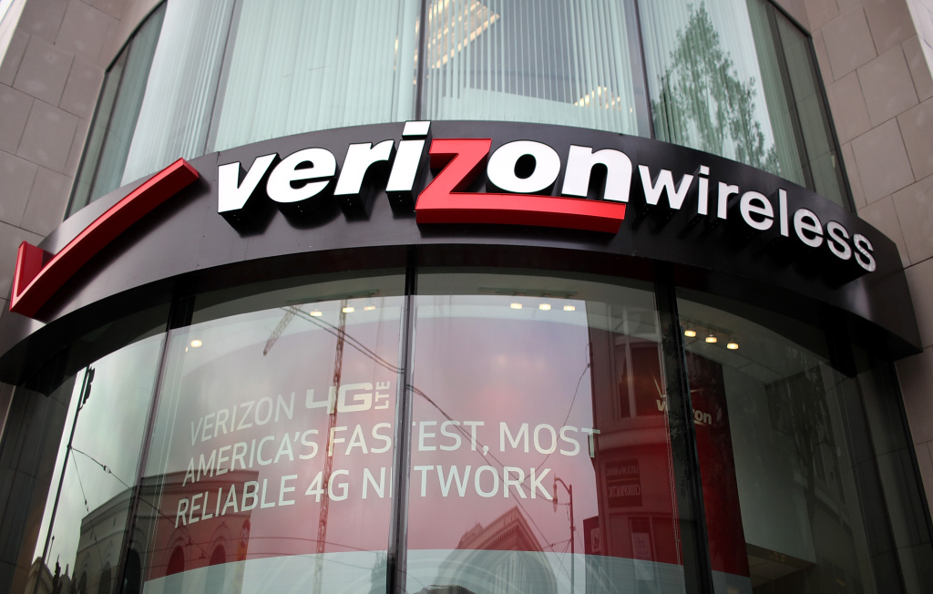 A sign is posted in front of a Verizon Wireless store on January 24, 2012 in San Francisco, California.
