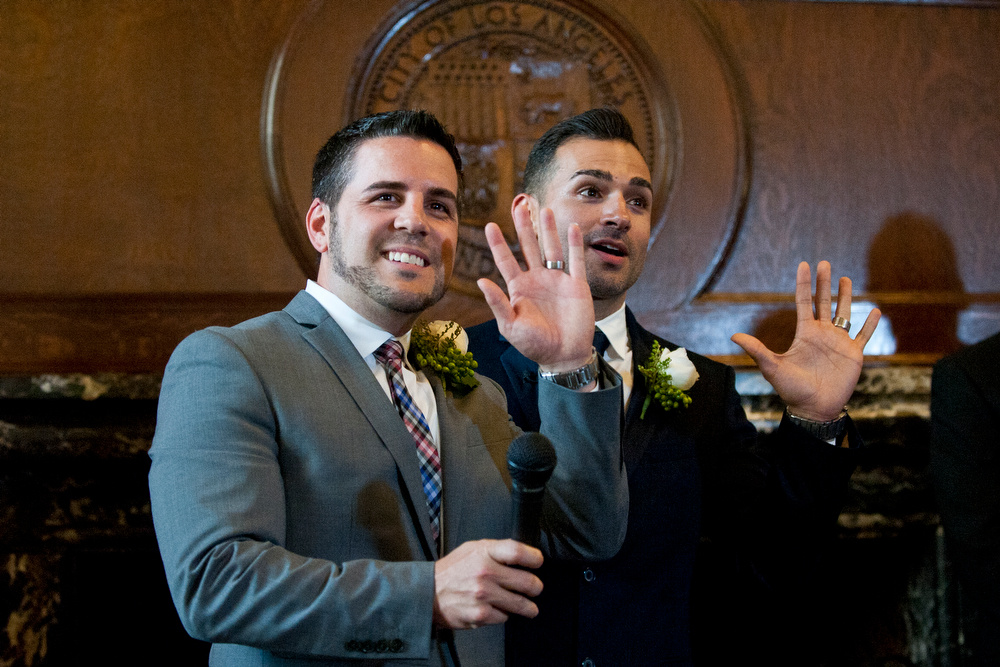 Paul Katami and Jeff Zarrillo, plaintiffs in the Supreme Court case that overturned California's same-sex marriage ban, became the first gay couple to wed in Los Angeles since 2008 at City Hall. Former mayor Antonio Villaraigosa officiated the ceremony.