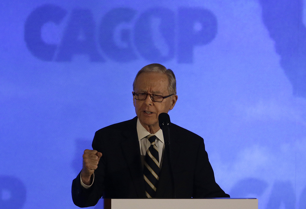 Former Calif. Gov. Pete Wilson speaks before introducing Republican presidential candidate Ted Cruz at the California Republican Party 2016 Convention in Burlingame, Calif., Saturday, April 30, 2016. (AP Photo/Jeff Chiu)