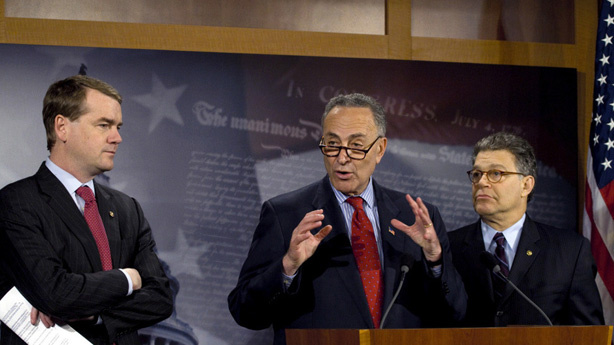 Sen. Michael Bennet, D-Colo., Sen. Charles Schumer, D-N.Y., Sen. Al Franken, D-Minn., at a news conference on Capitol Hill. The three shared their concerns with Facebook's new information policy.