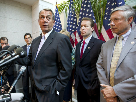 Speaker John Boehner and other House Republican leaders at a May 31, 2012 news conference at which they described a proposal by Rep. Nancy Pelosi to raise taxes as a