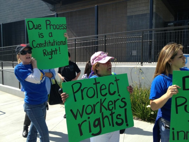 Miramonte Elementary School teachers march to demand their return to their school. (May 2, 2012)