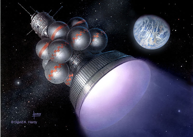 Daedalus concept art © David A. Hardy/www.astroart.org - Project Icarus is a volunteer theoretical engineering study to design an interstellar spacecraft. The project was launched on September 30, 2009, at the British Interplanetary Society headquarters in London, and is a five year study.