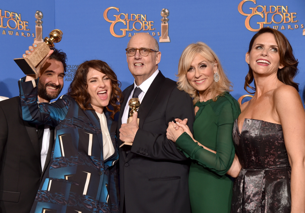 (L-R) Actor Jay Duplass, writer/producer/director Jill Soloway, actors Jeffrey Tambor, Judith Light and Amy Landecker, winners of Best Actor in a Television Series – Musical or Comedy for 'Transparent,' pose in the press room during the 72nd Annual Golden Globe Awards.
