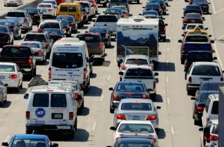 Traffic on the 405 freeway in Los Angeles, Calif.