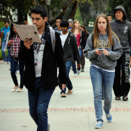 LOS ANGELES, CA - APRIL 23:  Students walk across the campus of UCLA on April 23, 2012 in Los Angeles, California. (Photo by Kevork Djansezian/Getty Images)