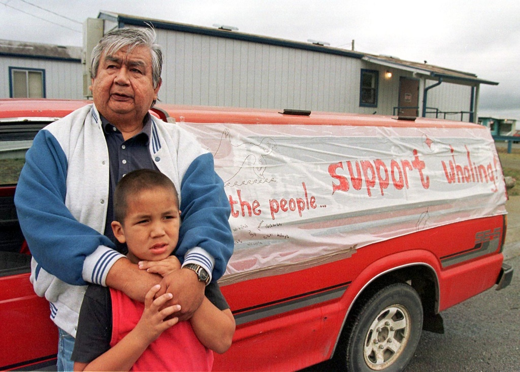 Makah Native Americans show their support in Neah Bay, WA in October for fellow tribe members in their quest to hunt gray whales for the first time in 70 years.