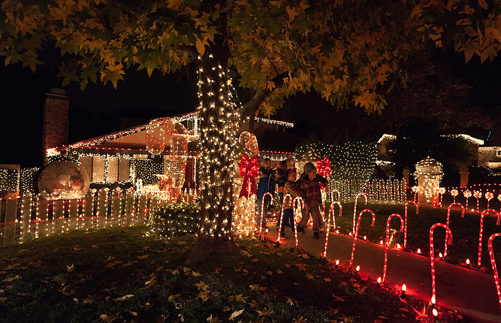 A holiday light display on Thoroughbred St, the Candy Cane Lane for Rancho Cucamonga