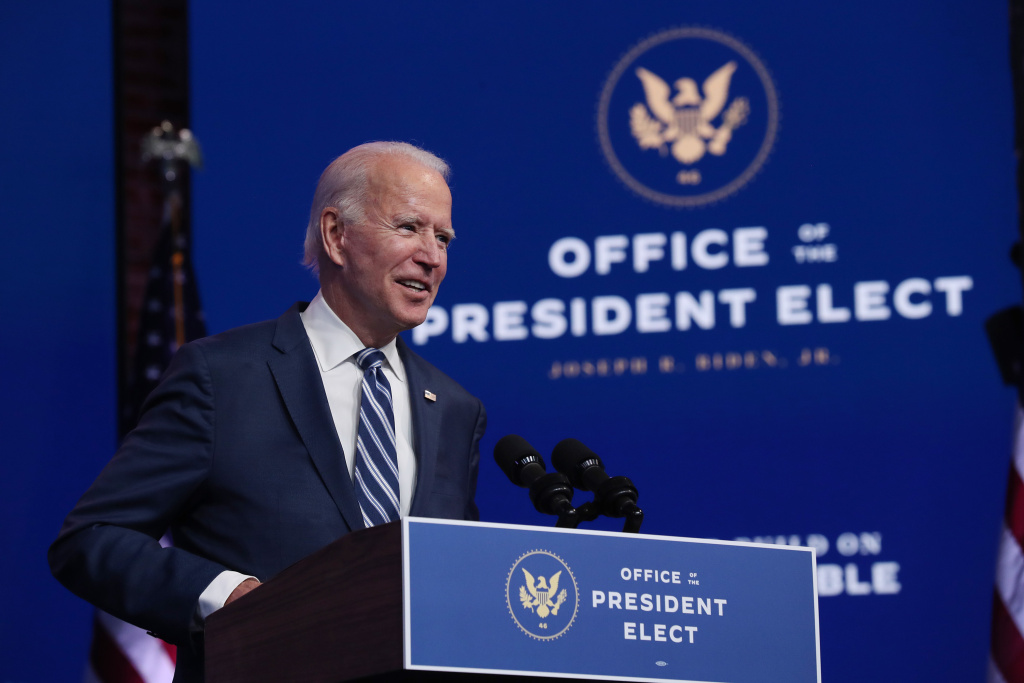 U.S. President-elect Joe Biden addresses the media about the Trump Administration's lawsuit to overturn the Affordable Care Act on November 10, 2020 at the Queen Theater in Wilmington, Delaware.