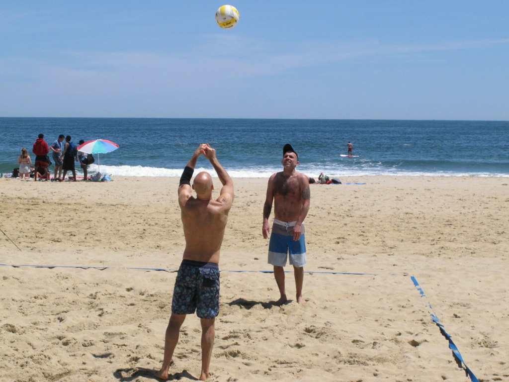 Beachgoers playing a game of volleyball on the Belmar, N.J., beach. Gov. Phil Murphy signed a law Friday that protects the public's right to access the state's waterways and shorelines.