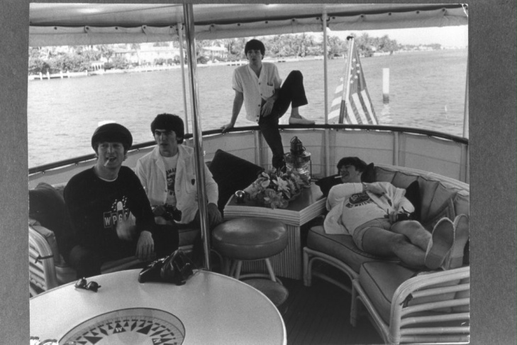The Beatles Relax on Boat In Florida