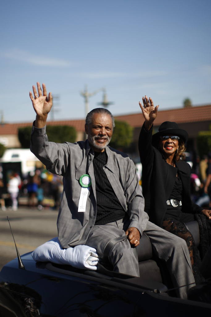 Former Los Angeles Police Chief Bernard Parks, a council member representing the 8th District in South Los Angeles, rides in the 29th annual Kingdom Day Parade on January 20, 2014 in Los Angeles, California.