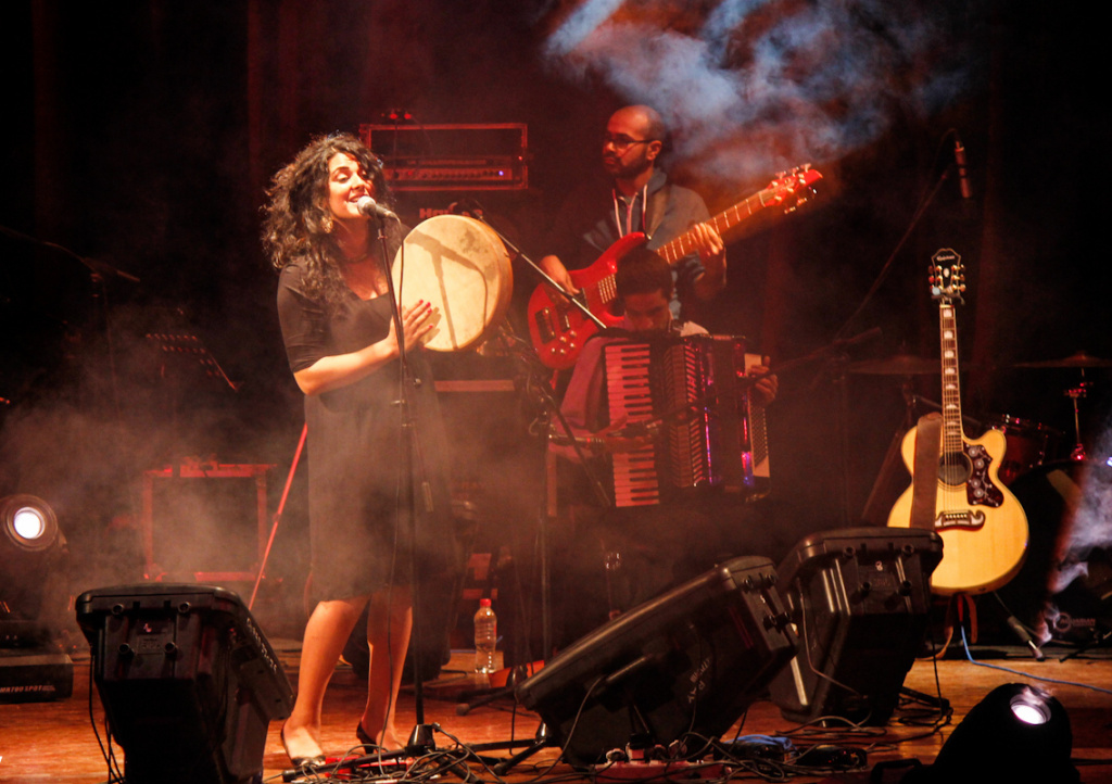 Egyptian folk singer Dina El Wedidi performs at Qasr El Nil Theater during the Downtown Cairo Arts Festival. Wedidi says efforts to revitalize venues like the Qasr El Nil are important because there aren't enough places for musicians of the post-revolution explosion to perform.