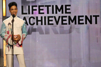 Musician Prince accepts the Lifetime Achievement Award during the 2010 BET Awards held at the Shrine Auditorium on June 27, 2010 in Los Angeles, California.