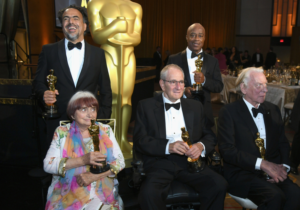 Award winners Agnes Varda, Alejandro González Iñárritu, Owen Roizman, Charles Burnett and Donald Sutherland attend the Academy of Motion Picture Arts and Sciences' 9th Annual Governors Awards on November 11, 2017.