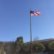 The American flag on display at the University of California, Irvine campus.