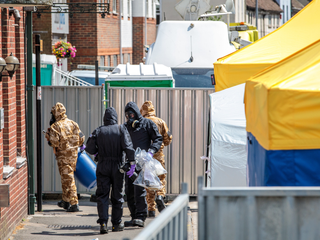 Emergency workers in Salisbury, England, last week investigated two recent cases of nerve agent exposure. British police say Dawn Sturgess was staying in Salisbury before she showed signs of sickness in nearby Amesbury on June 30. She died Sunday.