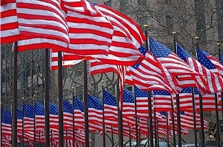 American flags at the Rockefeller Center during President Obama's inauguration. What do the stripes and stars mean to you?