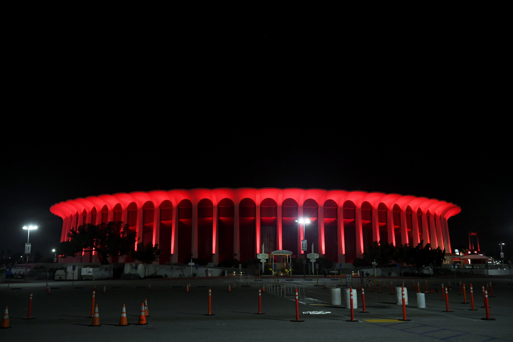 The Forum is lit in red as venues nationwide participate in the Red Alert RESTART campaign to pressure Congress to provide financial help to entertainment and live event industry workers decimated by the coronavirus (COVID-19) pandemic on September 01, 2020 in Inglewood, California.