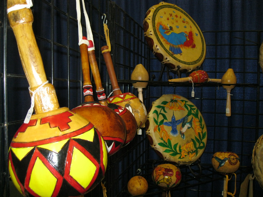 Native American drums, gourds and flutes made by hand by Alex Maldonado, who sells them at Indian markets.  This was his first time displaying his instruments at the NAMM show in Anaheim.