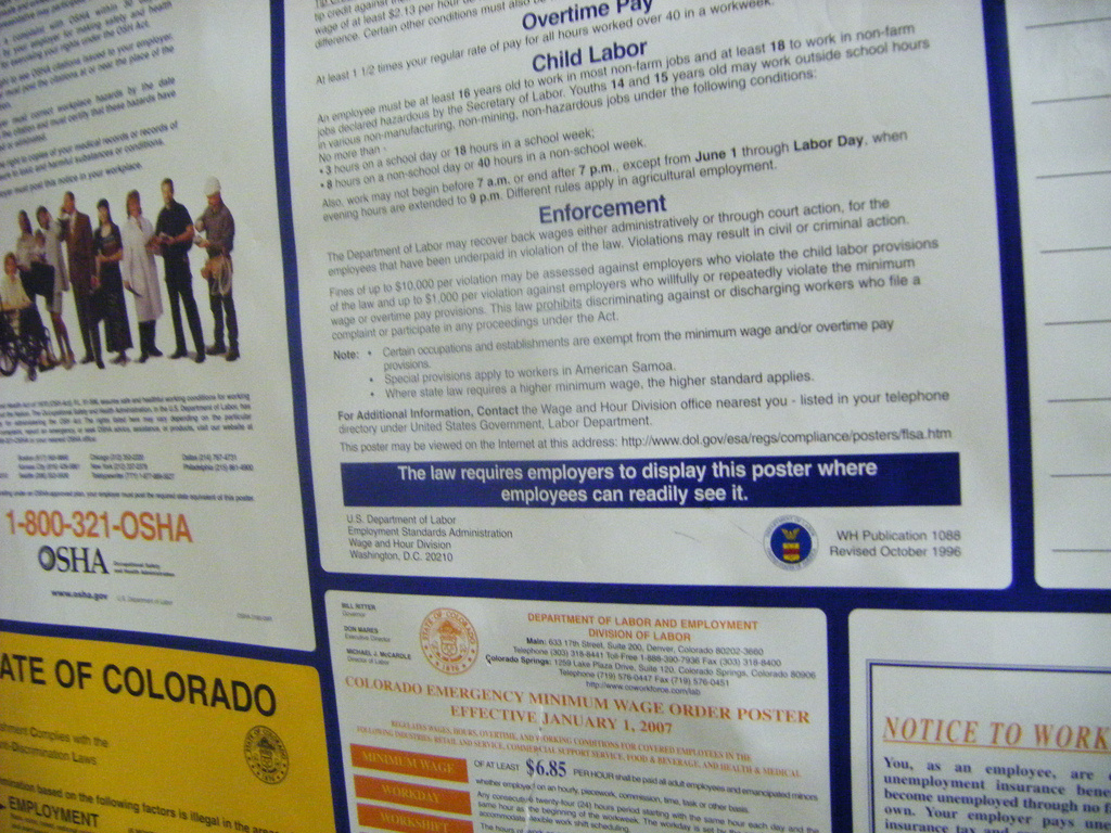 The National Rights Labor Board requires employers to put up posters about labor laws, but did they ask for too much?