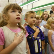 Kindergardners Participate In National Pledge of Allegiance