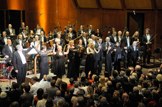 Performers take a final bow on stage at the New York Philharmonic 2009 Spring Gala.