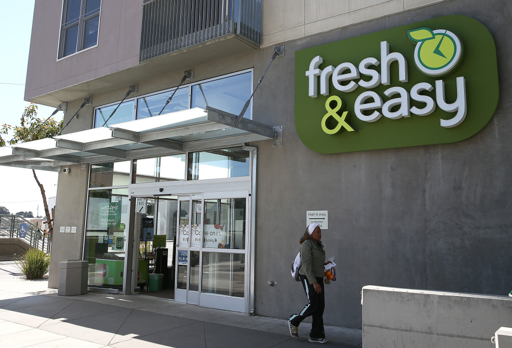 A customer leaves a Fresh and Easy grocery store on April 18, 2013 in San Francisco, California.