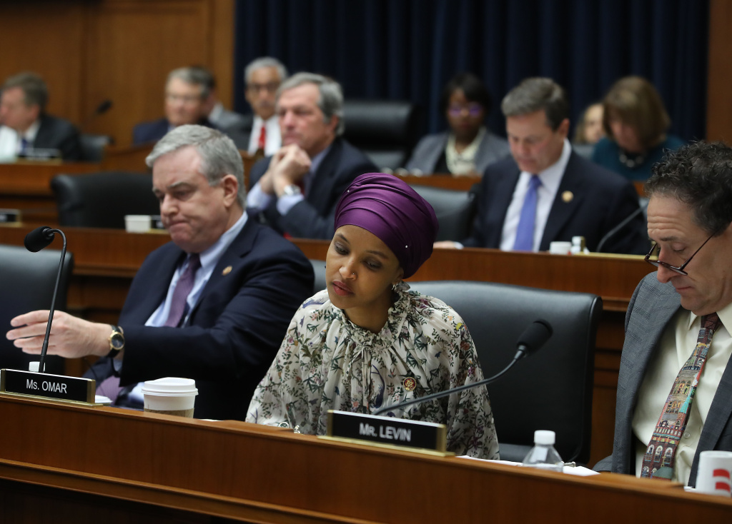 Rep. IlhanOmar(D-MN) participates in a House Education and Labor Committee Markup on the H.R. 582 Raise The Wage Act, in the Rayburn House Office Building on March 6, 2019 in Washington, DC.