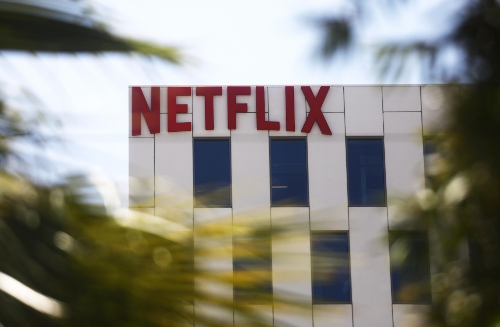 The Netflix logo is displayed at Netflix offices on Sunset Boulevard in Los Angeles, California.