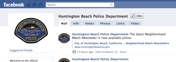 The Huntington Beach Police Department's Facebook page.