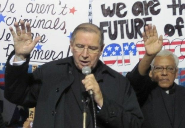 Cardinal Roger Mahony speaks at a rally in support of the Dream Act in downtown Los Angeles, December 2010