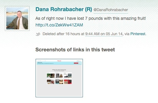 Tweet deleted by Dana Rohrabacher caught by Politwoops.