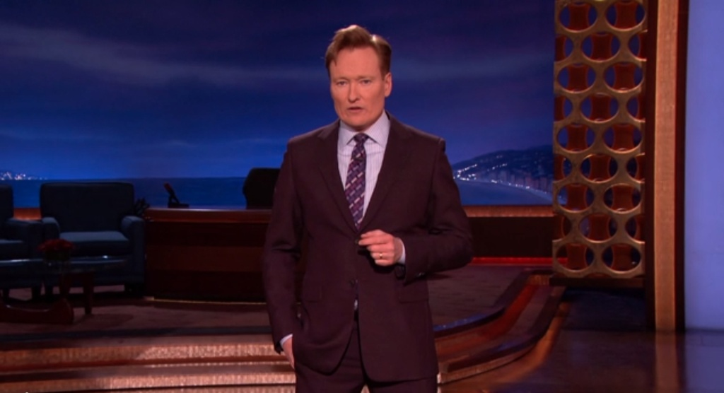 Conan O'Brien in a screen shot from the Wednesday, Jan. 8, 2015 edition of