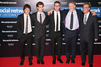 "Jesse Eisenberg (left to right), Andrew Garfield, Justin Timberlake, David Fincher and Aaron Sorkin attend ""The Social Network"" premiere in Paris, France, at Cinema Gaumont Marignan on Oct. 3, 2010."