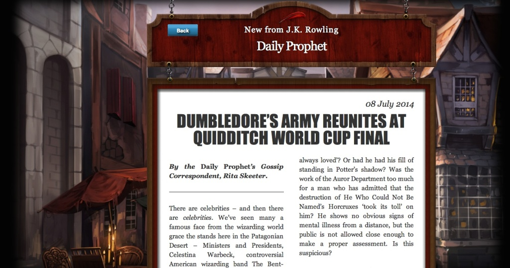 "A 1,500-word story posted on the author's Pottermore website is the first update since ""Harry Potter and the Deathly Hallows"" was published in 2007."