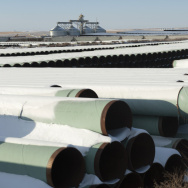 Pipes for TransCanada's planned Keystone XL pipeline are stored in Gascoyne, N.D. The Senate has voted to approve the proposed project, which would allow crude oil to flow from Canada to the Gulf of Mexico.