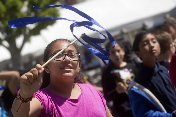 Students from Roosevelt Elementary in Pasadena take part in setting the Guinness World Records Title for the largest ribbon dance on Thursday, April 9, 2015 at The Music Center Plaza. More than 2,300 students from all over Los Angeles County participated in the event, which was part of the 45th annual Blue Ribbon Children's Festival.