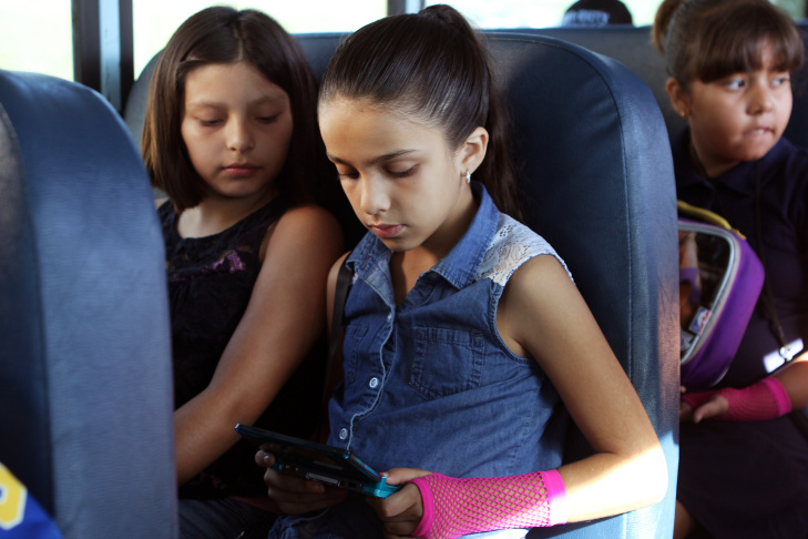 The Museum of Latin American Art's new bus transports students from Anton Elementary School to the museum on Sept. 26.