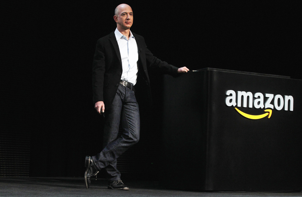 Amazon founder Jeff Bezos introduces the new Amazon tablet called the Kindle Fire on September 28, 2011 in New York City.