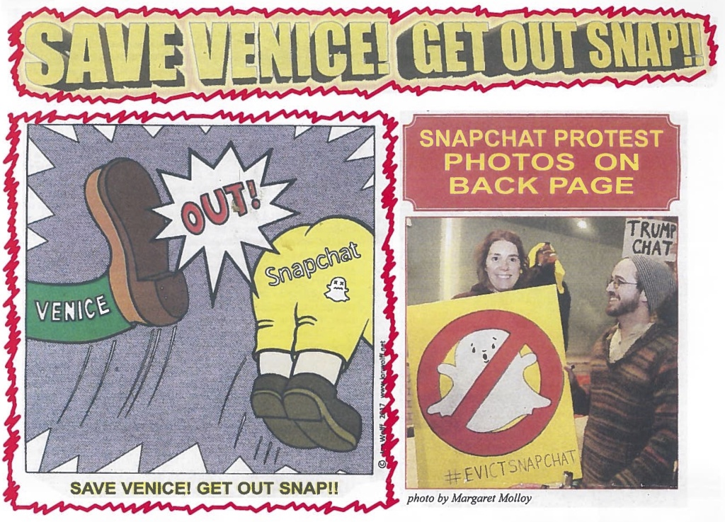 These images were taken from a flyer being handed out on the Venice boardwalk near Snapchat's former headquarters.