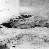 The bodies of dead Chinese men and boys lie in the Los Angeles jail yard on October 24, 1871, the results of the Chinese Massacre.