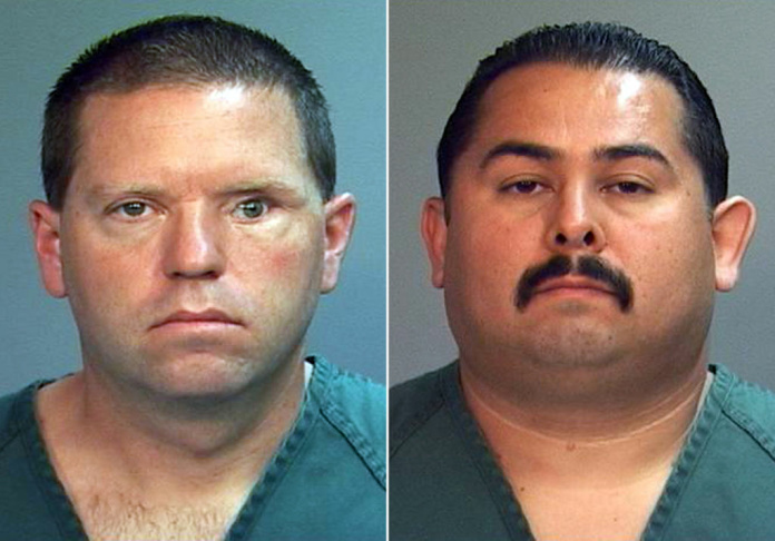 PLEASE NOTE: SEVERAL IMAGES IN THIS SLIDESHOW PORTRAY THE IMMEDIATE AFTERMATH OF THE BEATING DEATH OF KELLY THOMAS AND DISPLAY GRAPHIC VIOLENCE.   This combo made from file photos provided by the Orange County District Attorney's office shows Fullerton Police Officers Jay Cicinelli, left, and Manuel Ramos.